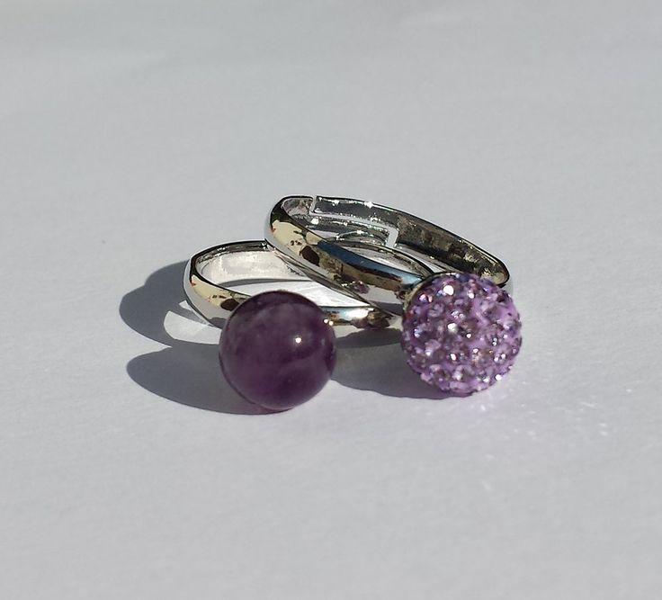 Coppia Anelli con Ametista e perla pavè di cristalli, by Barbara Creations, 19,00 € su misshobby.com