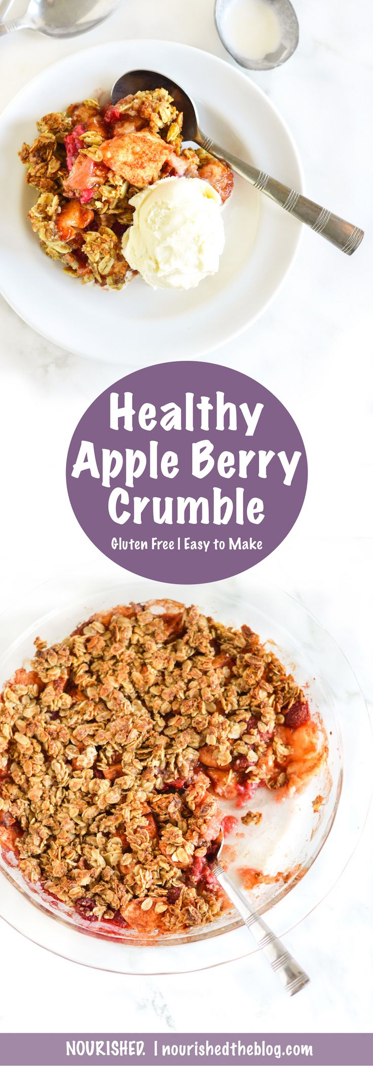 A Healthy Apple Berry Crumble recipe made with fall-fresh cinnamony apples and slightly sweetened raspberries topped with a gluten free oat and almond crumble topping that's best served warm.