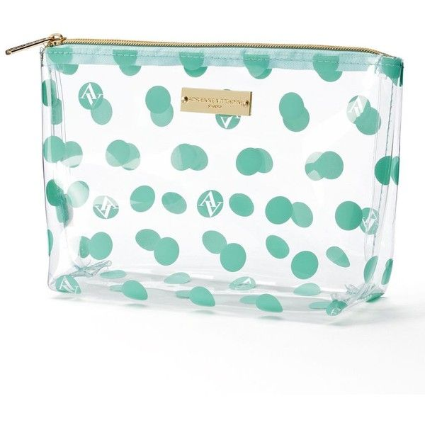 Adrienne Vittadini Studio Clear Cosmetic Bag (Clear Av Dots) ($16) ❤ liked on Polyvore