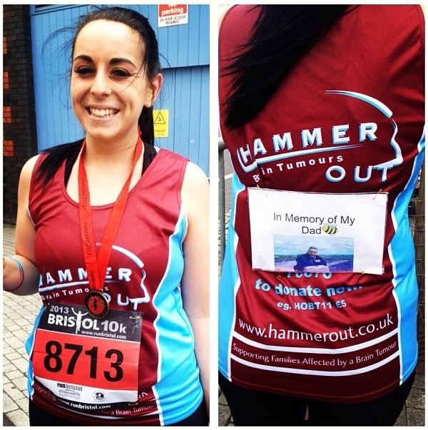 """Elly wore her Hammer Out running vest with pride as she ran the 2013 Bristol 10K in memory of her Dad, Matthew Robbins, who sadly died in 2010 after diagnosis of an inoperable brain tumour. As Hammer Out supported her family during her Dads illness, Elly now wants """"people to hear about the great work this charity does for individuals living with Brain Tumours & their families"""" Her run has certainly helped in that, as well as raising over £500! A great tribute to her Dad & much appreciated by…"""