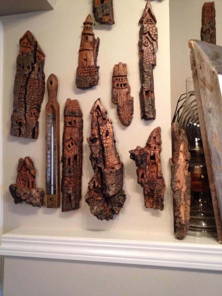 Whimsical bark houses hand carved from cottonwood bark ...