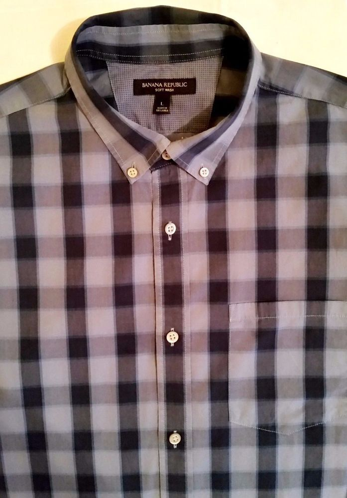 Banana Republic Soft Wash Button Down Gray/Blue Plaid Shirt sz L #BananaRepublic #ButtonFront
