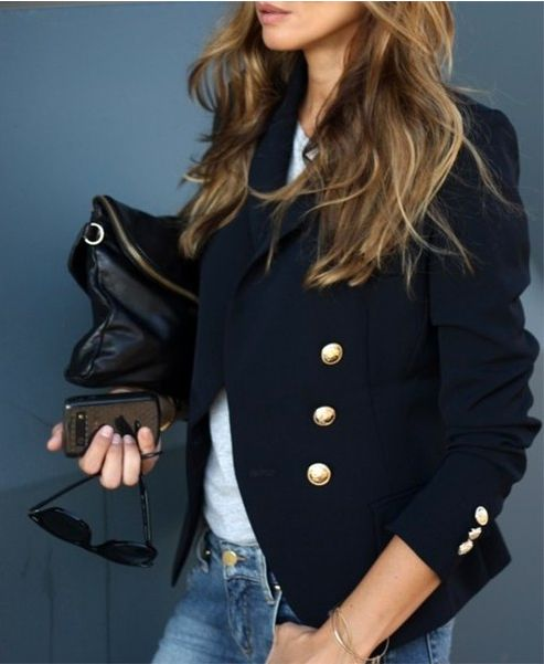 Gorg navy blazer with gold buttons