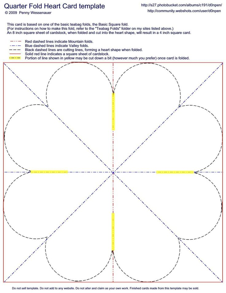 pin quarter fold card template on