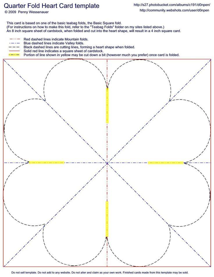 quarter fold heart card template card folds pinterest. Black Bedroom Furniture Sets. Home Design Ideas