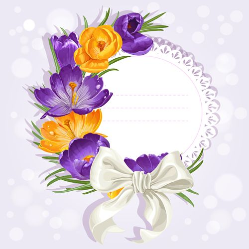 Purple flower with bow vector cards 04