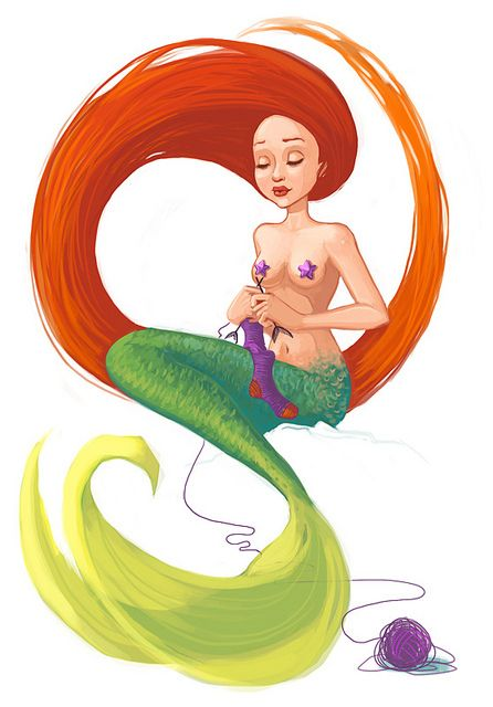 knitting mermaid, via Flickr.