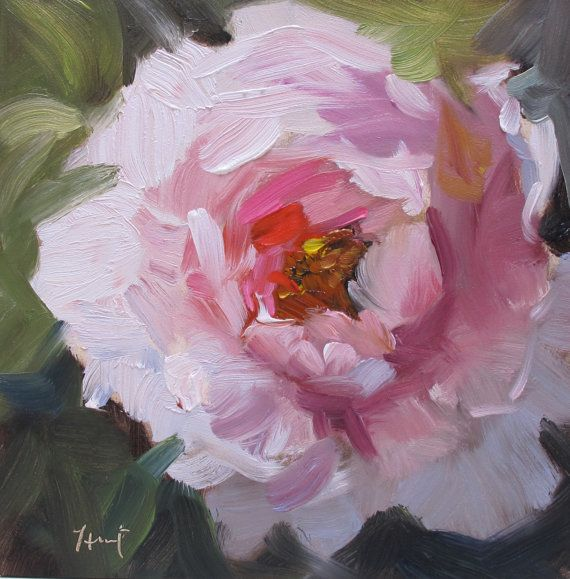 Pretty in Peach....peony impressionistic by LindaHunt on Etsy