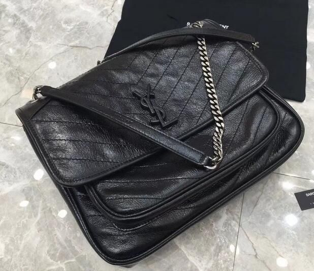Saint Laurent Large Monogramme Niki Chain Bag in Black Vintage Crinkled  Leather 498894 4baa3407ebb8a