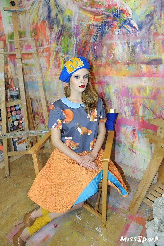 Olga Kalicka for MissSpark. Beautiful Quilted Skirt, FOXES Blouse & Beret available online: shop.missspark.com. Photo session in artistic company: Agnieszka Iskierka: Fashion/Styling. Marta Siedlecka: make up/hair. Painting studio: Marta Zawadzka.