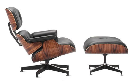 """Eames® Lounge and Ottoman Lounge: H 32"""" W 32.75"""" D 32.75"""" Seat H 15"""" Ottoman: H 17.25"""" W 26"""" D 21.5"""""""