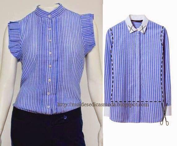 Recicle a partir de camisas que deixaram de ter uso e customize as t-shirts. O corte das camisas tem que ser feito com algum cuidado para que o resultado s