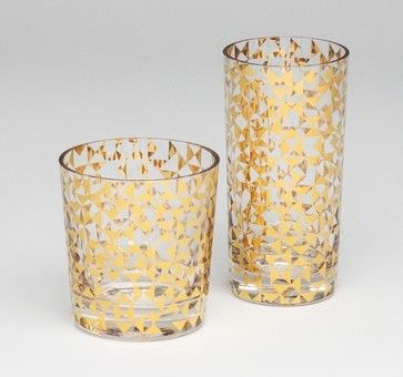 Gold Triangles Drinking Glass modern glassware