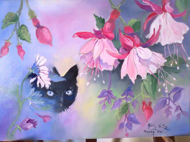 I called this oil painting 'Peeping Tom'. I love to paint flowers and cats are my other passion.