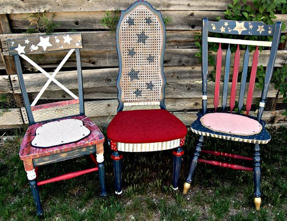 Found some cheap chairs at a garage sale and I'm going to paint them black with a burgundy star on the seat for a primitive Americana look.  They will sit in the dining room corners.  Summer project. :)