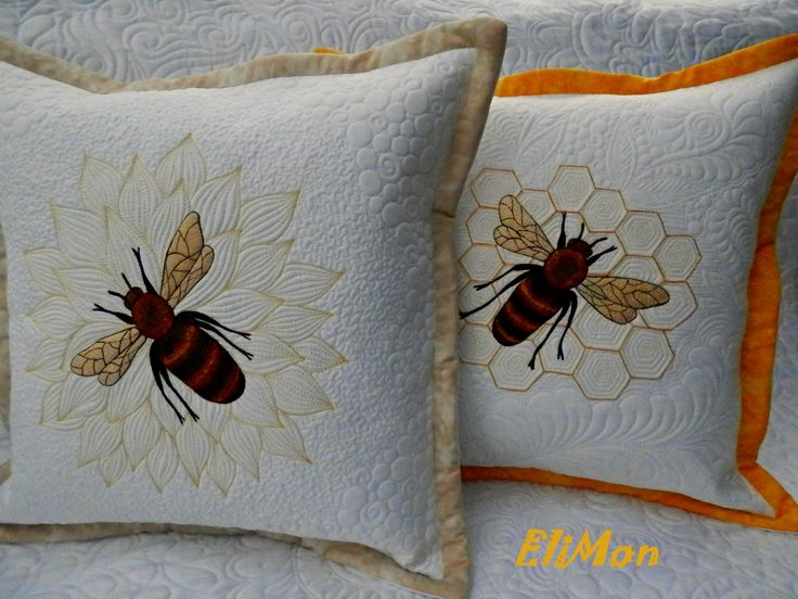 pillow wit bee honeym  free embroidery  with free motion quilting