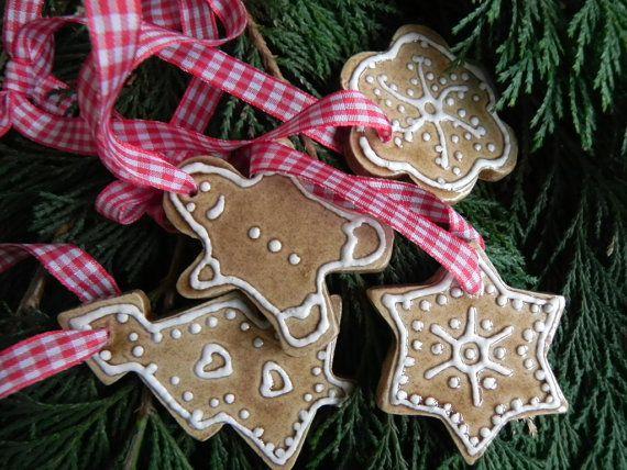 Christmas Ceramic Ornaments Caramel Star, Flower, Gingerbread Man, Tree Eco Friendly Pottery set of 4. $20.00, via Etsy.