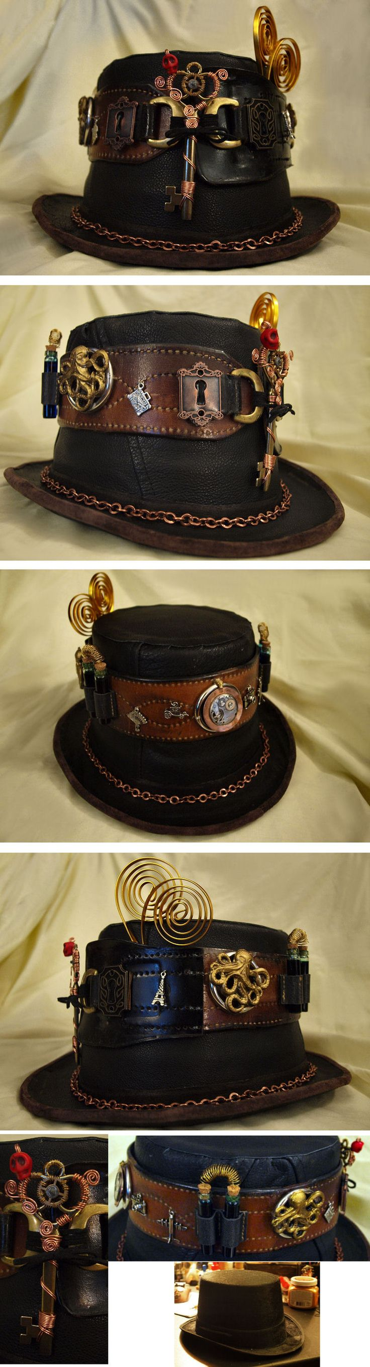"""Steampunk Leather Top  Hat,"" made by covering a party city (cheap) hat w leather from an old coat (thrift store)"