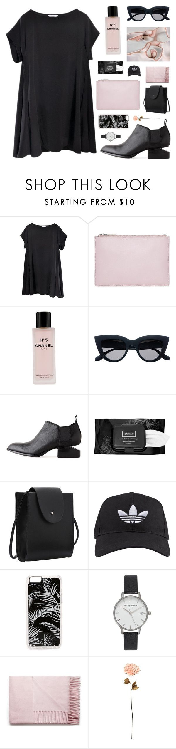 """""""trembling hands"""" by jesicacecillia on Polyvore featuring Whistles, Chanel, Alexander Wang, Kat Von D, adidas, Zero Gravity, Olivia Burton, Acne Studios and Shabby Chic"""