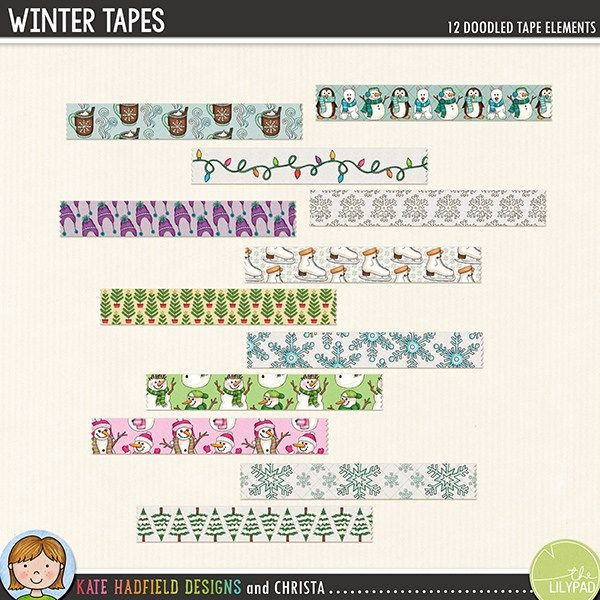 Winter Tapes digital scrapbook elements - perfect for scrapbooking your winter memories! Hand-drawn digital scrapbook kits from Kate Hadfield Designs.