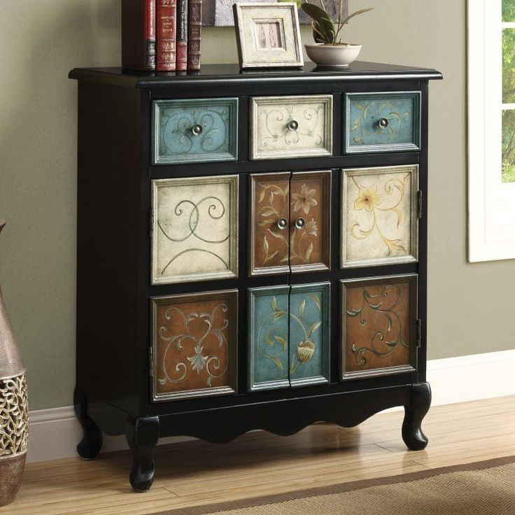 Monarch I 3893 Distressed Apothecary Bombay Chest - Black / Multi-color - Decorative Chests at Hayneedle