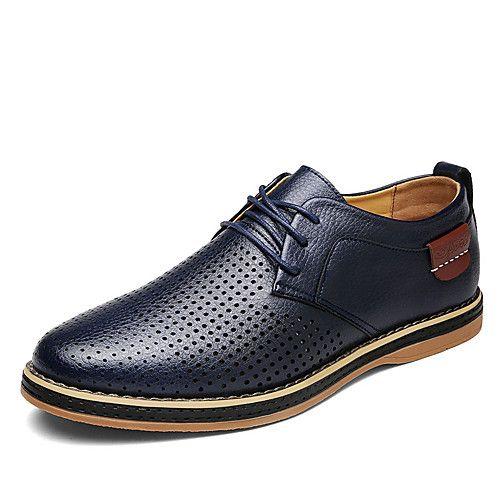 Hombre Zapatos PU Primavera Otoño Gladiador Oxfords Con Cordón para Casual Al aire libre Negro Marrón Azul 2018 - $64716