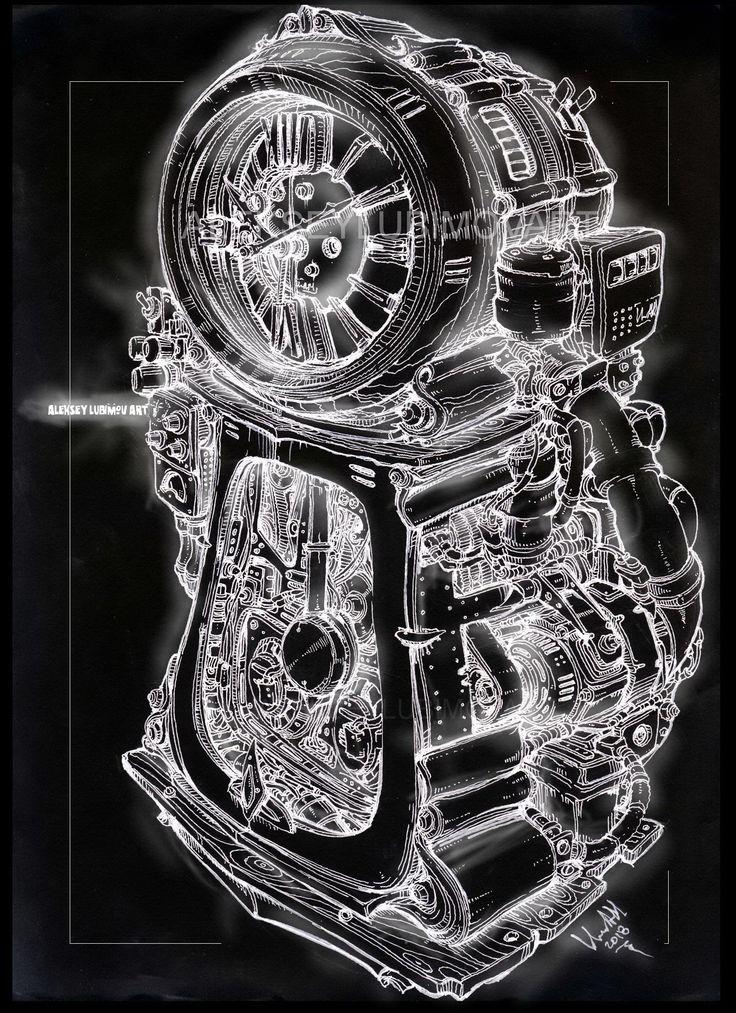 Exact time/Author Aleksey Lubimov. #alekseylubimov_art #алексейлюбимовбиомеханика #алексейлюбимов #стимпанк #дизельпанк #биомеханика #marchofrobots #steampunk #dieselpunk #biomechanical #lineart #engine #motor #inktober2018 #technodoodling