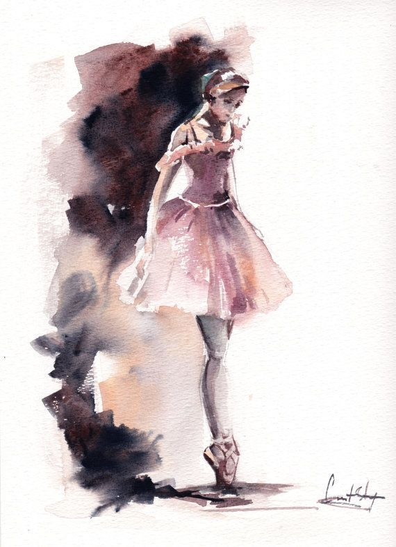 Ballerina Original Watercolor Painting Ballet Dance Watercolor Art Greys, Pale Pink  Scale: 9.4x11.6 (23.5x30cm) Medium: top branded watercolor paints on water color cold press paper 140 lb (300g)  Signed, titled and dated on back. Not framed.  All paintings are wrapped in a cellophane insert and cardboard support to best protect, shipped by Registered International Mail with tracking number.  Thank you for interesting! Custom orders are welcomed