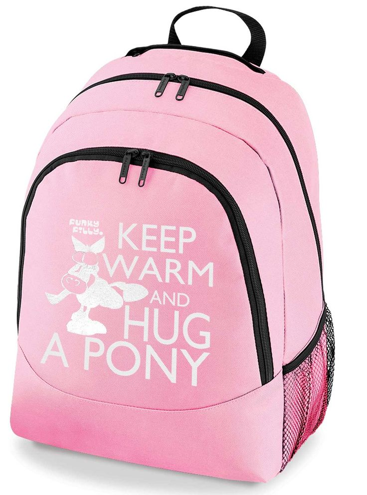 Funky Filly Girls Silver Horse Keep Warm and Hug A Pony School Backpack