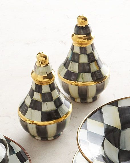 MACKENZIE-CHILDS Courtly Check Salt & Pepper Shaker Set $199 - FREE SHIPPING OR PICK UP - COMPARE ELSEWHERE $230+) InterexHome.Com
