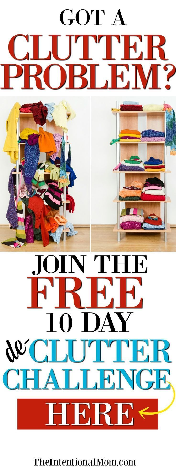 Got clutter? Control it, starting today. This FREE 10 day de-clutter email series will take you from clutter to control!