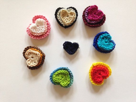 Hearts Applique Crochet applique Cotton by LittleFlowerbyGloria