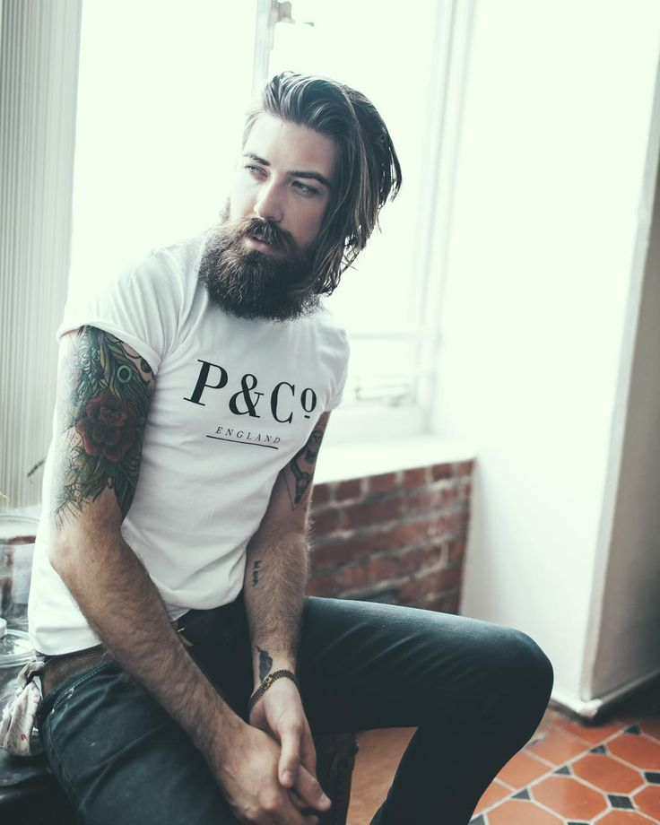 Lane Toran - full thick dark beard mustache beards bearded man men mens' style tattoos tattooed long hair handsome #beardsforever