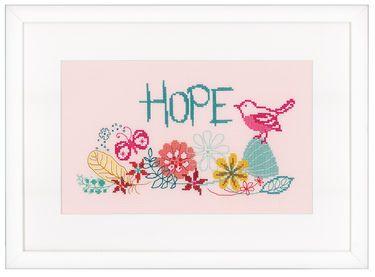 """PN-0156480 Broderipakning - Vægbillede - Hope  Vervaco design  Str. 28 x 17 cm.  Broderes med korssting på lyserød Aida med 5,4 tr. pr. cm. / 14"""" efter sort / hvid tellemønster.    Pakken indeholder instruktion, billede, stof, mønster, garn og en nål."""