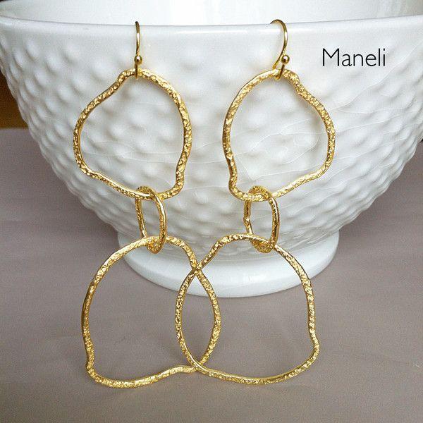 Ohrringe -  Ohrhänger gold gehämmert - ein Designerstück von -Maneli- bei DaWanda