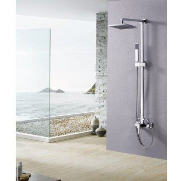 Lightinthebox Single Handle Wall Mount Rainfall Shower Faucet Set with 8 Inch Shower Head and Adjustable Slide Bar Bathroom Shower Faucet Chrome Unique Designer Vanity Plumbing Fixtures Roman Tub Faucets Lavatory Glacier Bay Faucet