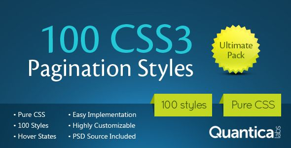 100 CSS3 Pagination Styles is the ultimate pack of 100 predefined CSS3 styles for pagination. PSD source file is included in the package. Tags: css3, navigation, pack, pager, paginate, pagination, styles.