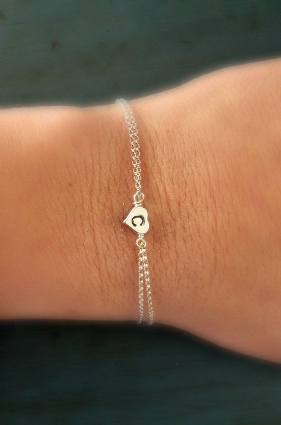 Personalized Sterling Silver Heart Initial Bracelet Bridesmaid jewelry Flower girl gift