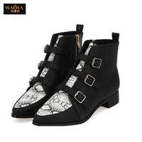 2015 recién llegado caliente moda para mujer de estilo europeo de la PU botas mujer botas cortas de piel de serpiente botas cortas mujeres QA envío gratis