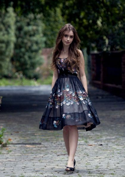 Midnight blue floral dress- would look awesome with a jacket or cardigan