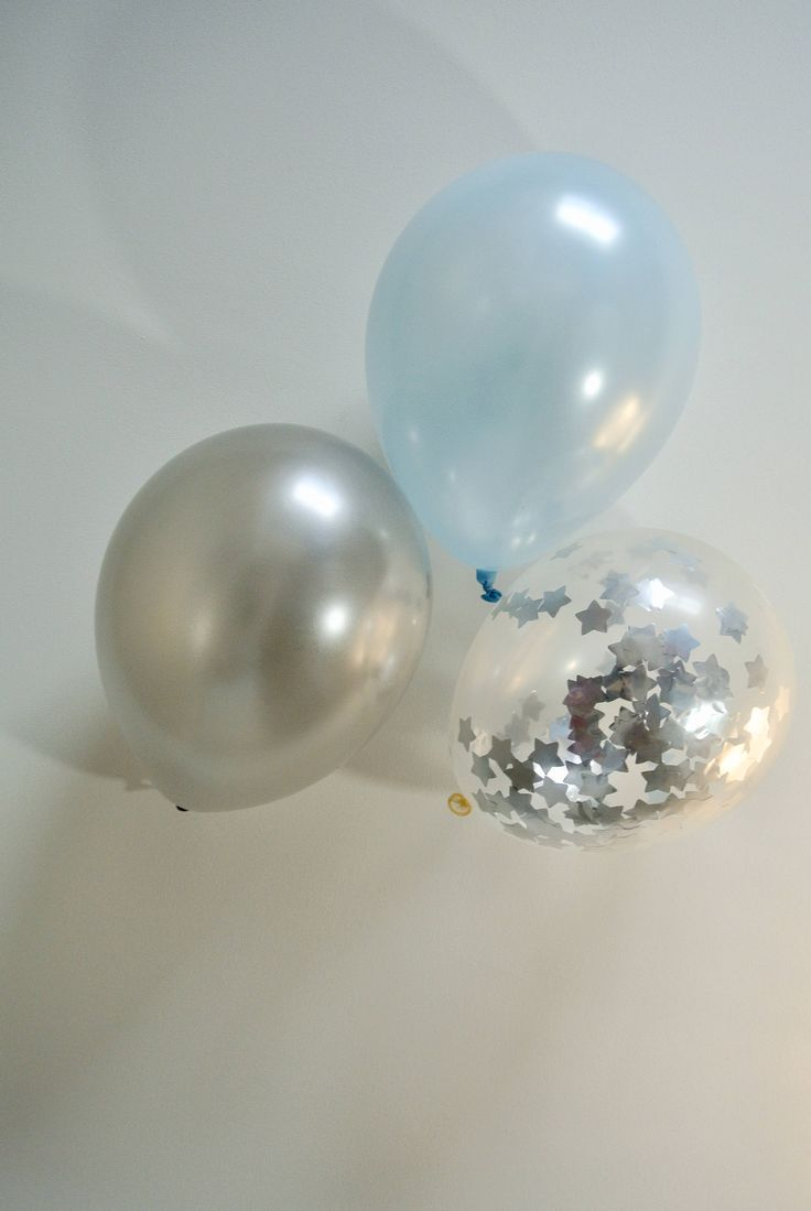 Confetti Balloon Silver. 12 inch. Blue and Silver Decor. Twinkle Twinkle Little Star Decor. Twinkle Twinkle Little Star Baby Shower by PaperRabbit87 on Etsy