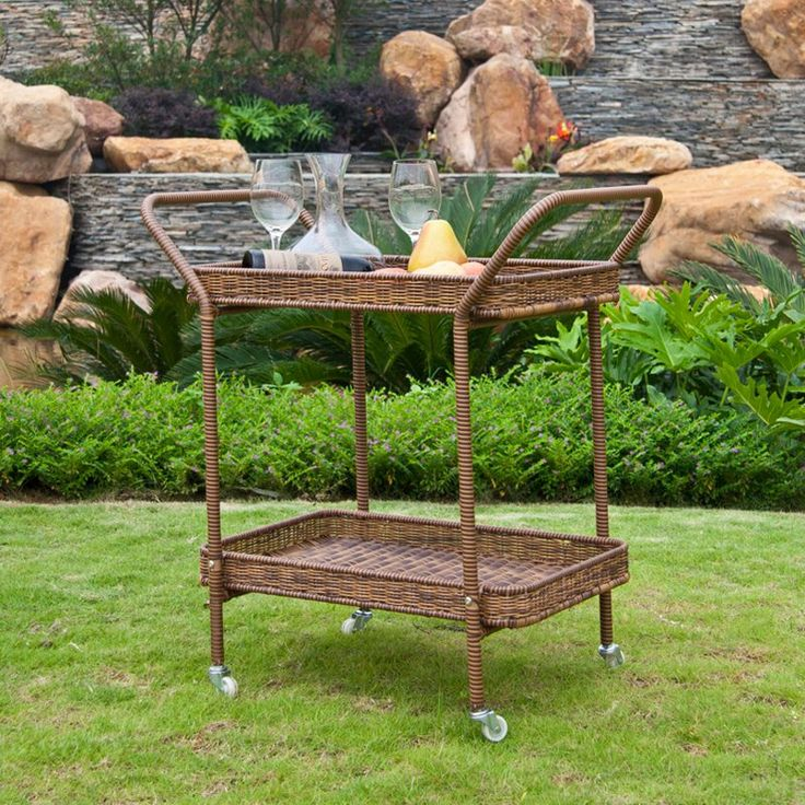 Jeco Outdoor Wicker Patio Furniture Serving Cart | from hayneedle.com