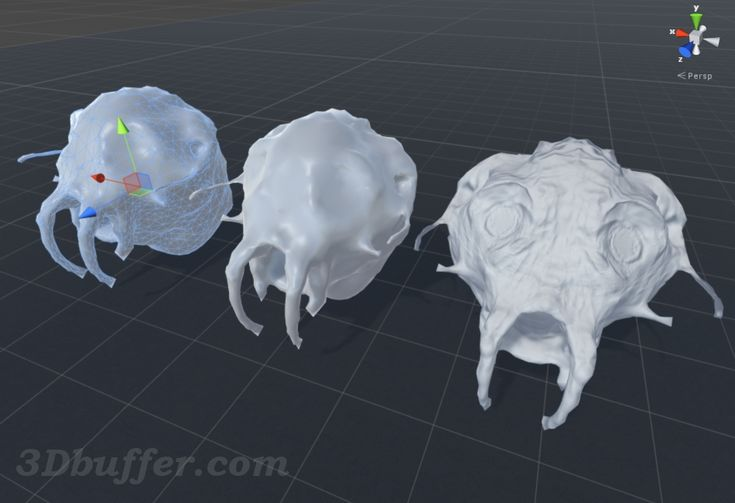 Insect. Monster. Digital Sculpting, Sculptris. Unity3D. Unity 3D. На рисунке показаны низкополигональные модели в Unity3D, слева – направо: низкополигональная модель с отображенной сеткой; просто низкополигональная модель; низкополигональная модель с примененной картой нормалей.