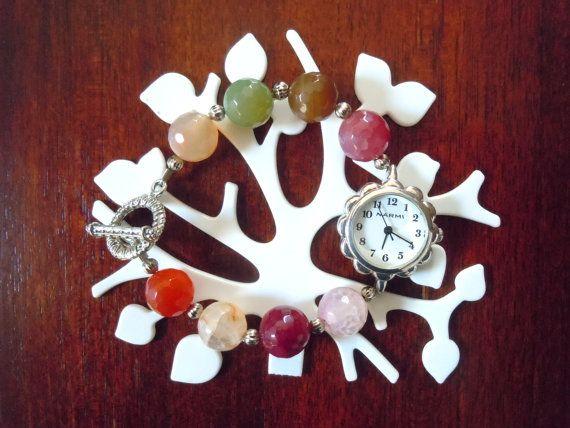 Orologio con agata colorata di ilfiorecreativo su Etsy