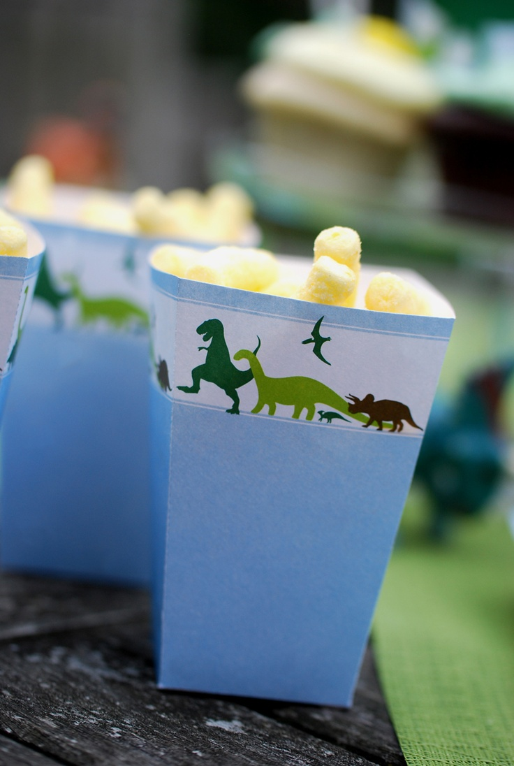 Dinosaur Dig Printable Birthday Party Popcorn Boxes