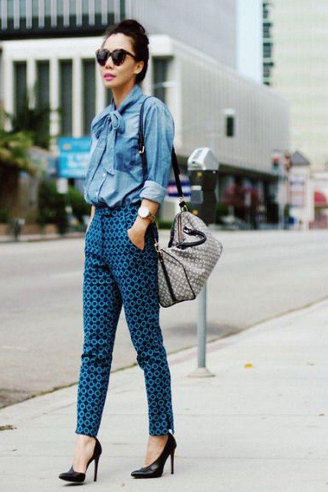 Camisa jeans com calça estampada - Como usar camisa jeans