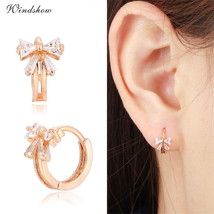 Cute Gold Plated Bowknot w/ CZ Crystals Round Circle Huggies Small Hoop Earrings for Women Children Girls Baby Kids Jewelry Aros