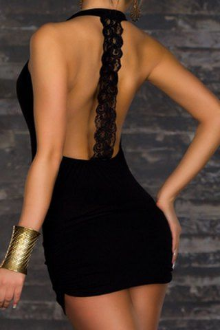 Sexy Plunging Neck Lace Spliced Backless Bodycon Dress For Women Club Dresses   …
