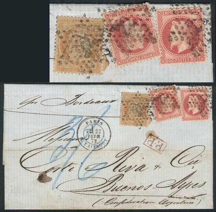 France, 22/FEB/1872 PARIS - ARGENTINA: folded cover franked by Yv.32 x2 + 38 (Napoleon + Liberty!), to Buenos Aires, excellent quality, scarce combination! Starting Price (11/2016): 268 EUR.