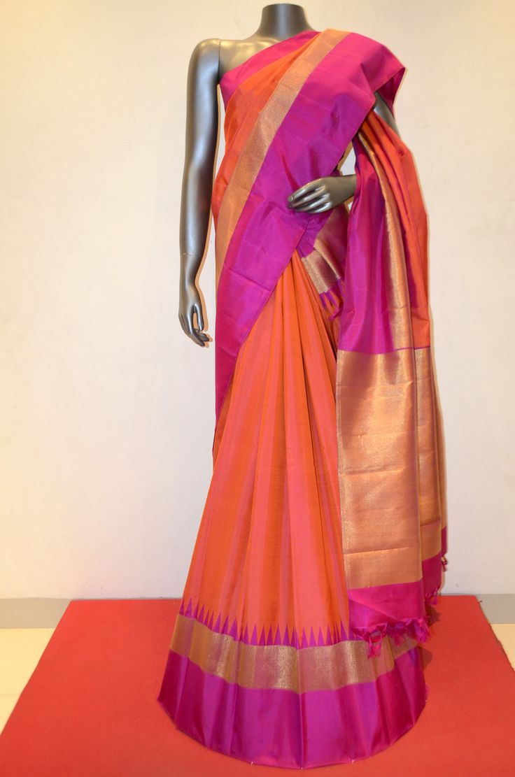 Peach Orange Kanjeevaram Silk Saree With Zari Border Product Code: AB210230 Online Shopping: http://www.janardhanasilk.com/index.php?route=product/product&search=AB210230&description=true&product_id=3551